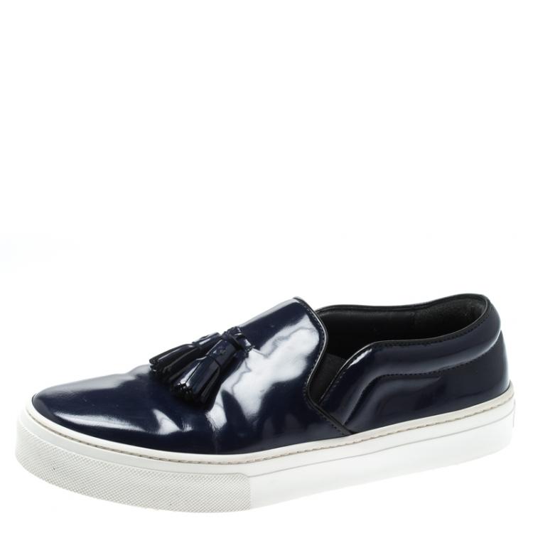 Celine Blue Leather Tassel Slip On