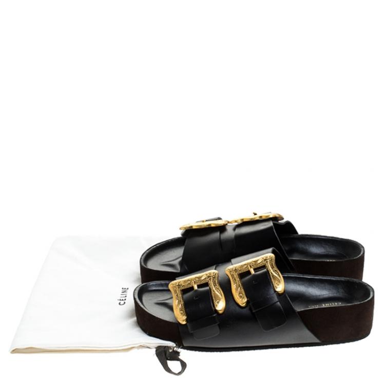 Celine Black Leather Western Gold