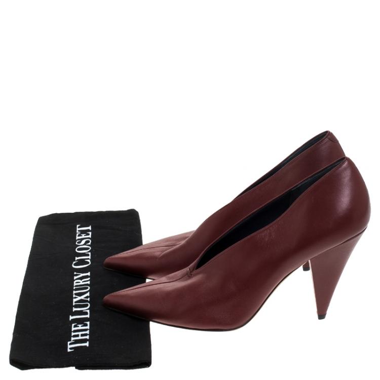 Celine Burgundy Leather V Neck Nappa Pumps Size 39.5