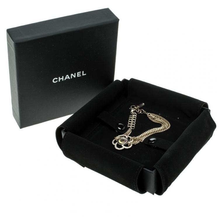 Chanel Camellia Crystal Gold Tone Chain Bracelet