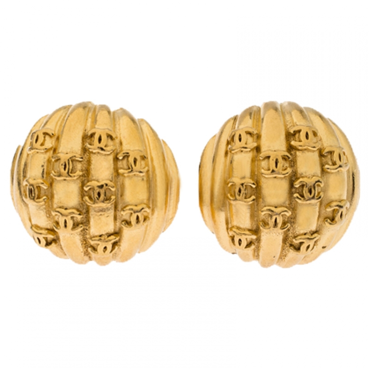 Chanel Gold Plated Rows of CC Logo Vintage Clip On Stud Earrings