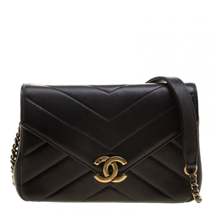 Chanel Black Herringbone Quilted Leather Flap Bag w/ Removable Red Pouch