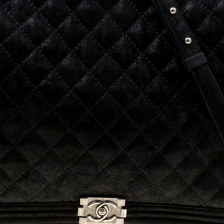 Chanel Black Quilted iridescent Leather XL Gentle Boy Flap Bag