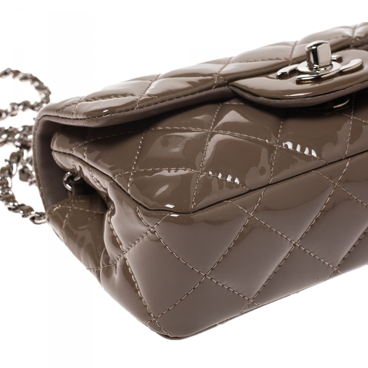 Chanel Brown Quilted Patent Leather New Mini Classic Flap Bag