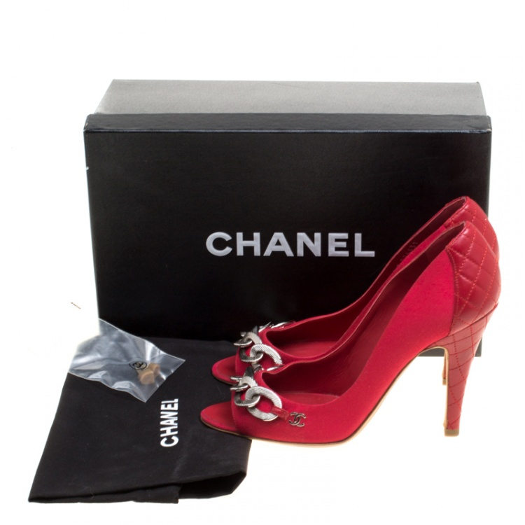 Chanel Red Canvas and Quilted Leather