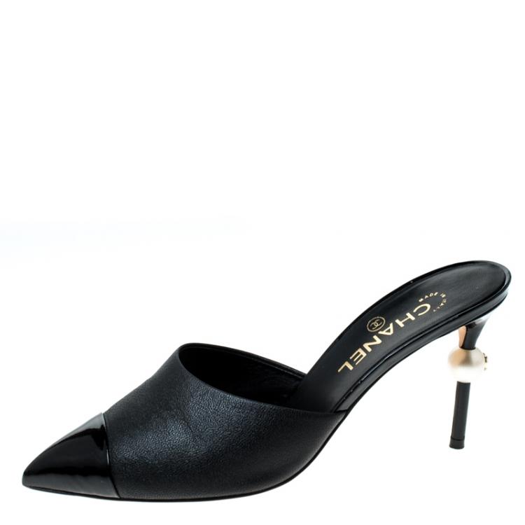 Chanel Black Leather CC Pearl Heel