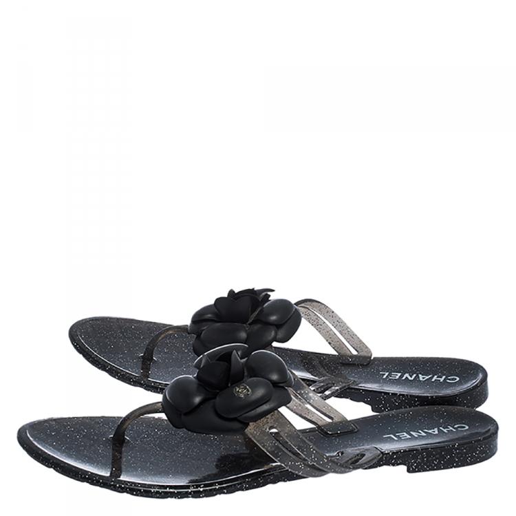 Black Camellia CC Thong Sandals Size