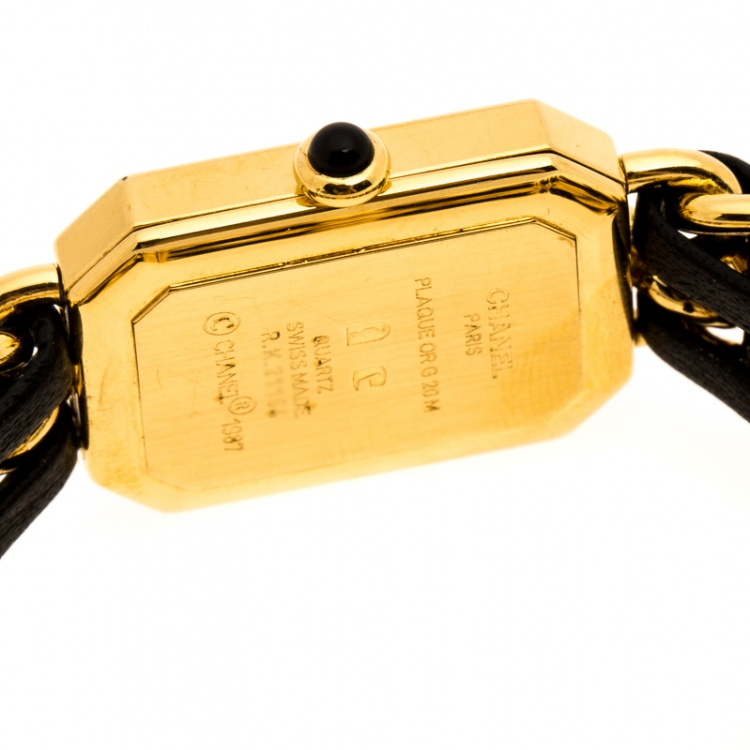Chanel Black Gold Plated Stainless Steel Premiere Women's Wristwatch 20 mm