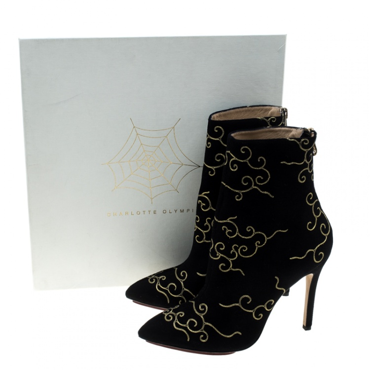 Charlotte Olympia Black Embroidered Suede Betsy Pointed Toe Ankle Boots Size 37.5