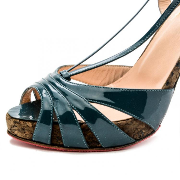 Christian Louboutin Teal Patent Activa Cork Sandals Size 38