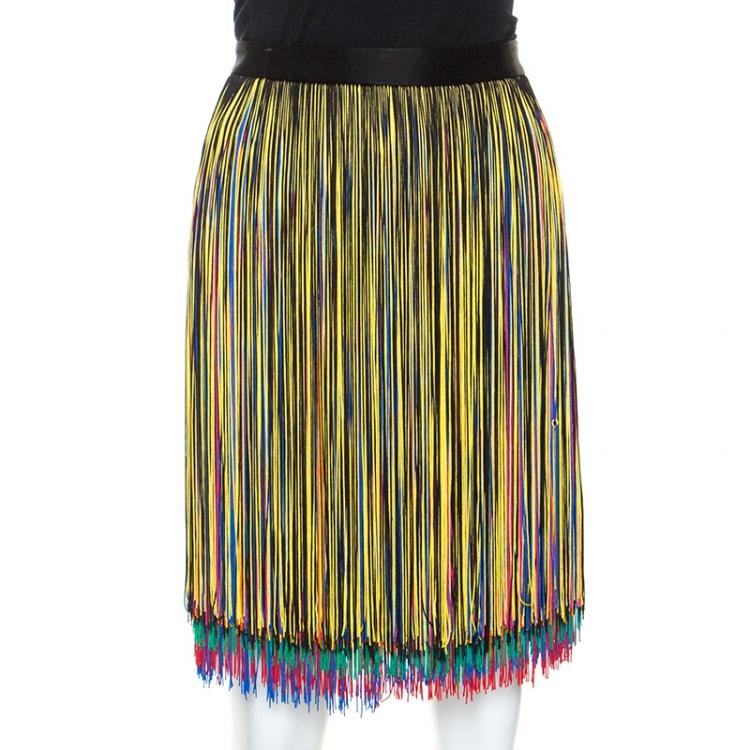 Christopher Kane Multicolor Fringed Skirt M