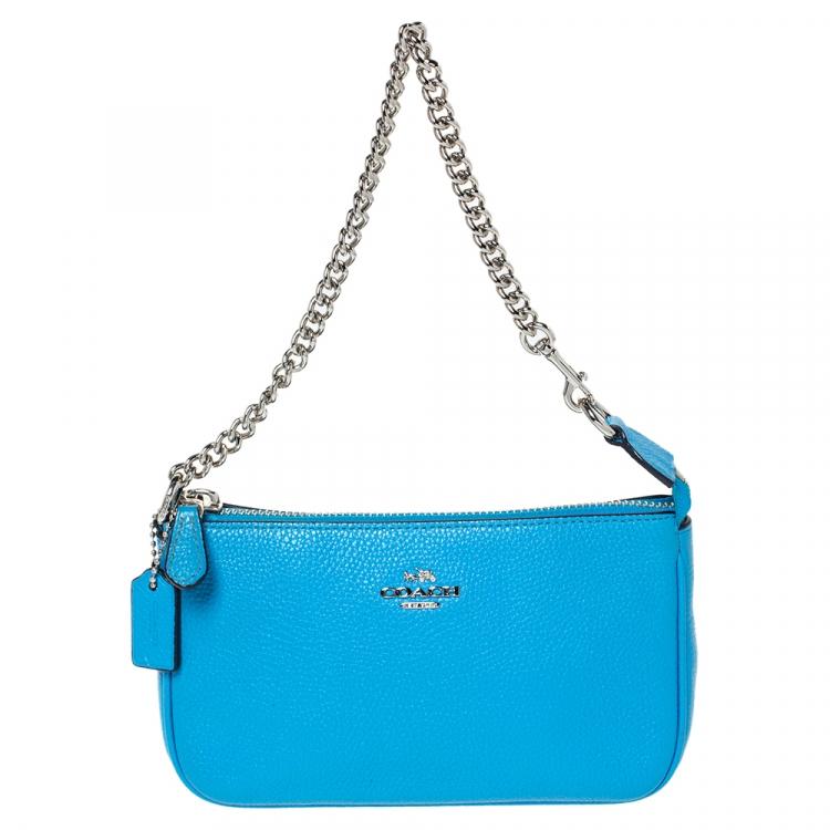 Coach Sky Blue Leather Mini Pochette Coach | TLC