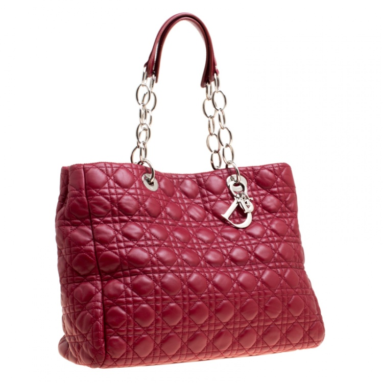 Dior Burgundy Cannage Leather Large Shopping Tote