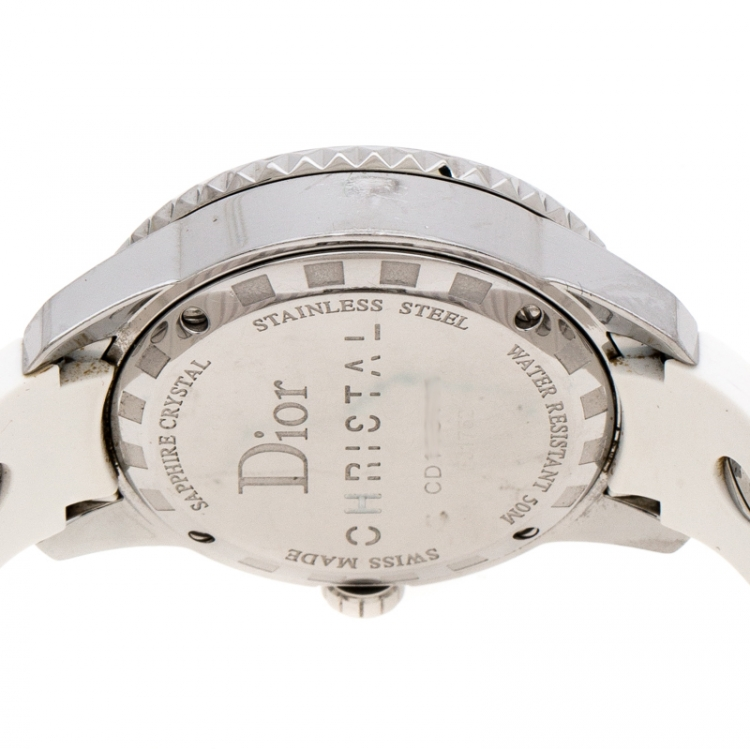 Dior White Stainless Steel Rubber Christal CD113111 Women's Wristwatch 33 mm