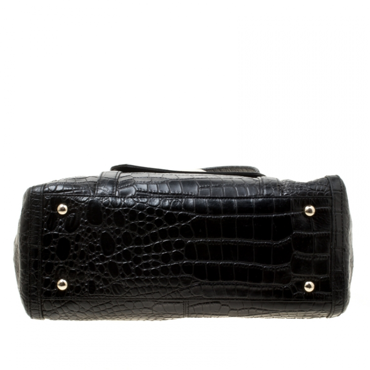 DKNY Black Crocodile Embossed Leather Satchel