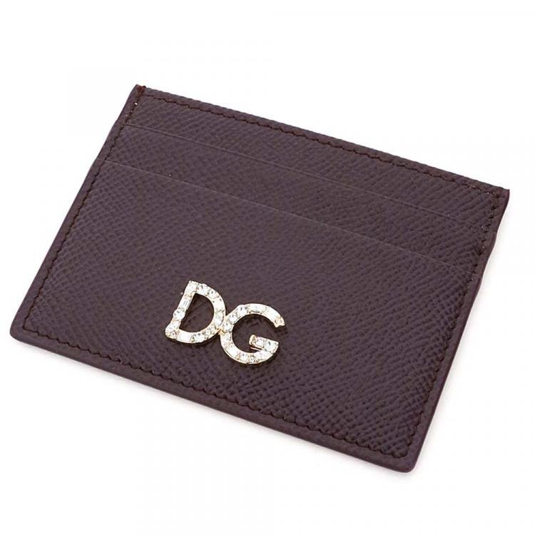 Dolce & Gabbana Black Leather Crystal DG Card Holder