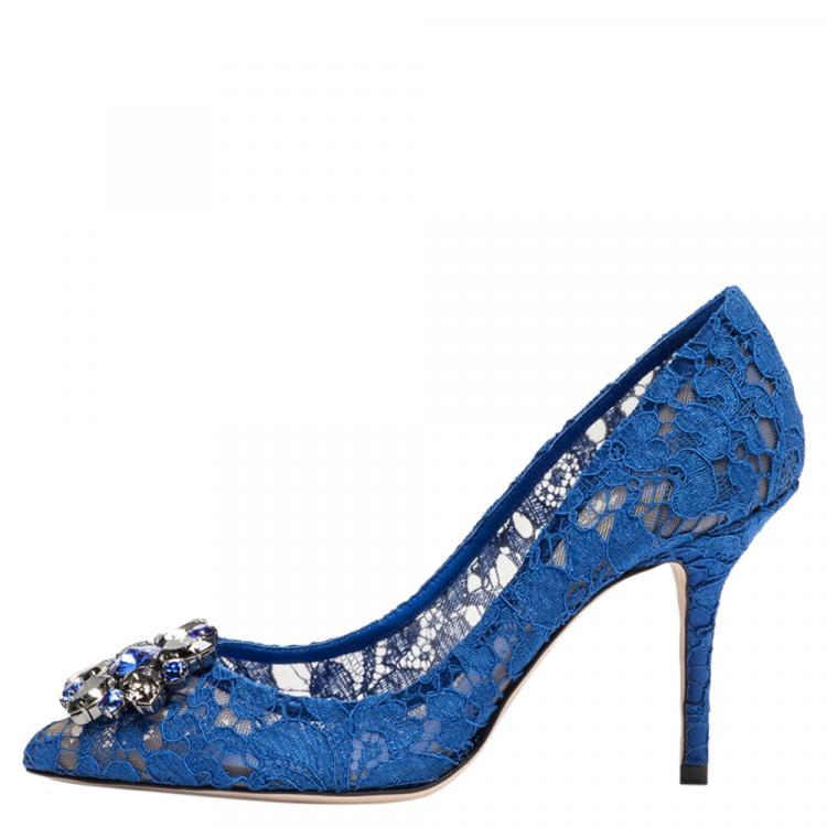 Dolce \u0026 Gabbana Blue Lace Jeweled
