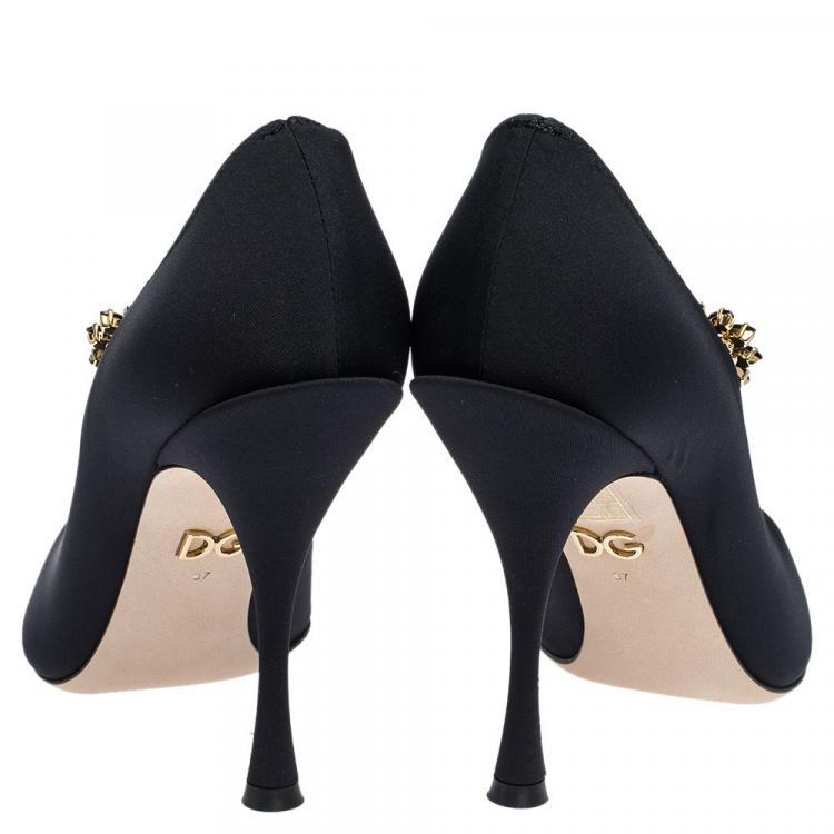 Dolce & Gabbana Black Stretch Jersey Mary Janes Pumps Size 37.5