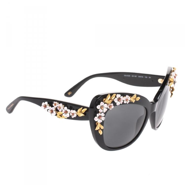 Dolce & Gabbana Black DG 4230 Floral Embellished Cat Eye Sunglasses