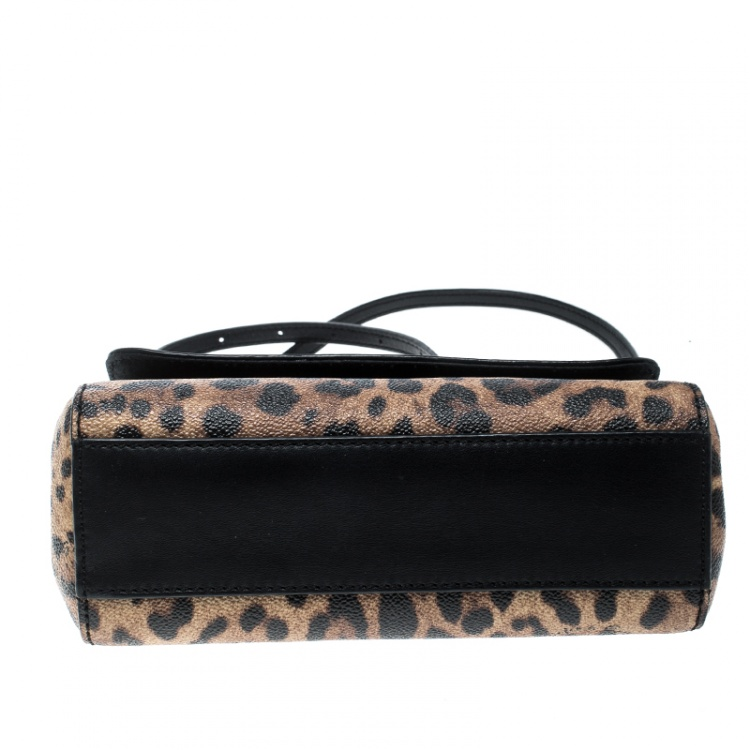 Dolce and Gabbana Leopard Print Coated Canvas Small Miss Sicily Tote