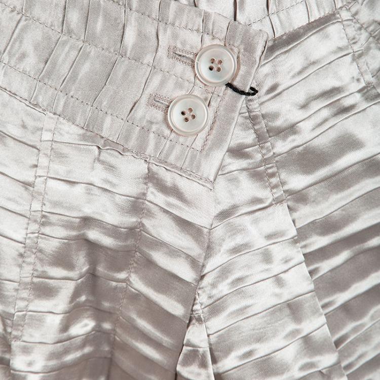 Emporio Armani Beige Pleated Textured Satin High Waist Balloon Trousers M