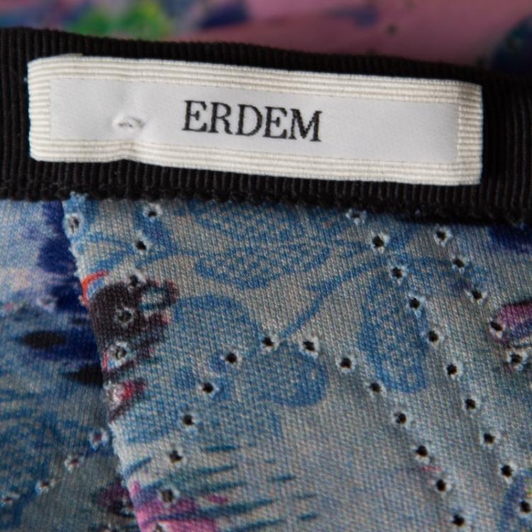 Erdem Pink Perforated Floral Print Ina Moreau Pleated Midi Skirt M