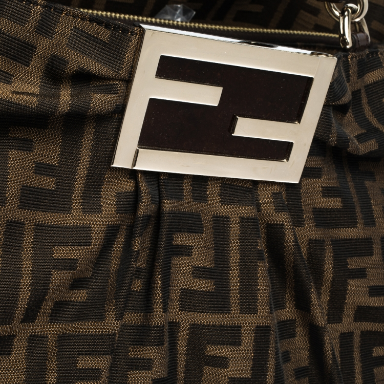 Fendi Tobacco Zucca Canvas and Patent Leather Large Mia Tote