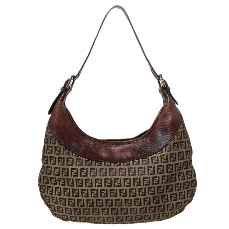Fendi Brown/Beige Zucchino Canvas and Leather Clip Hobo