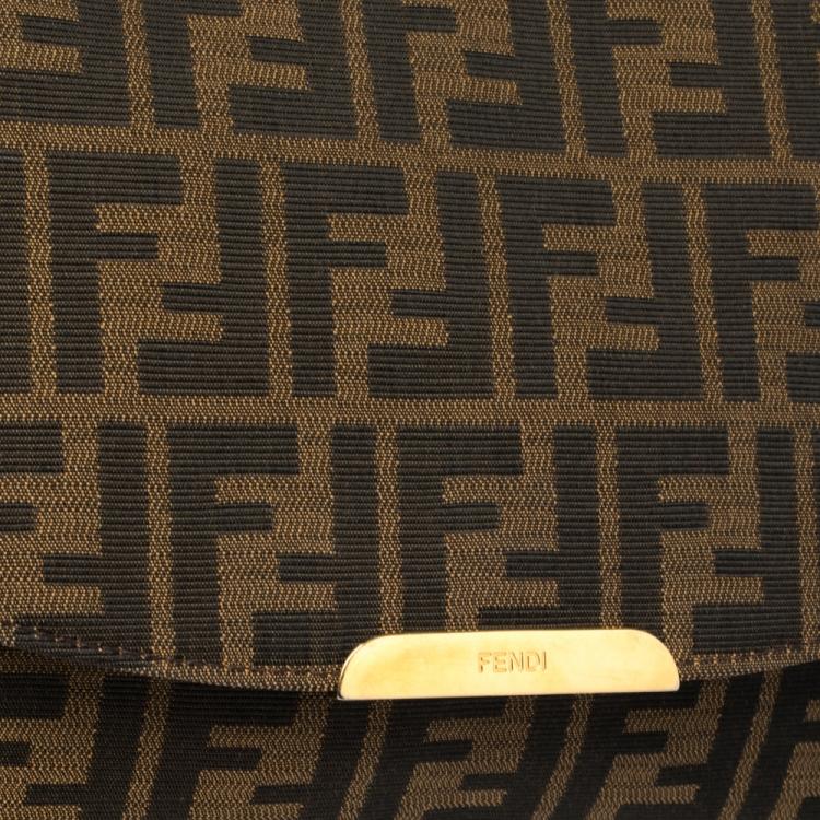 Fendi Tobacco Zucca Canvas Flap Shoulder Bag