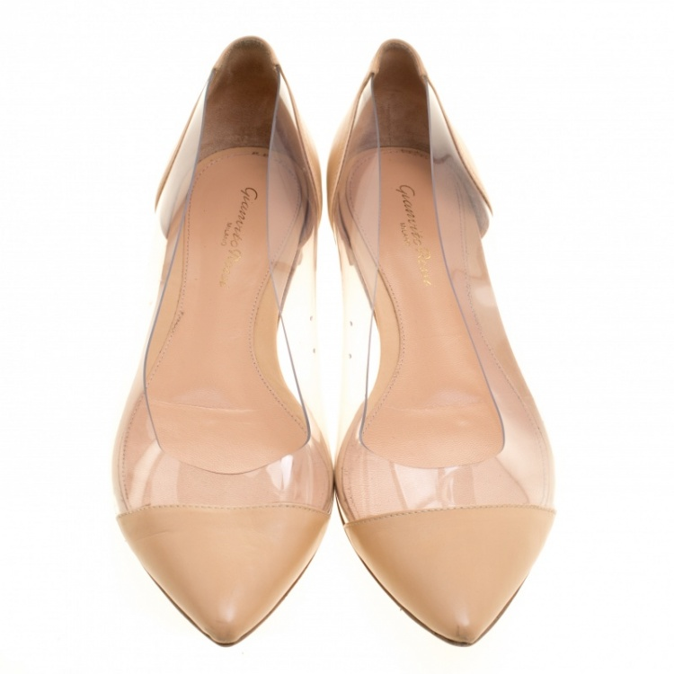 Gianvito Rossi Beige Leather and PVC Plexi Ballet Flats Size 38