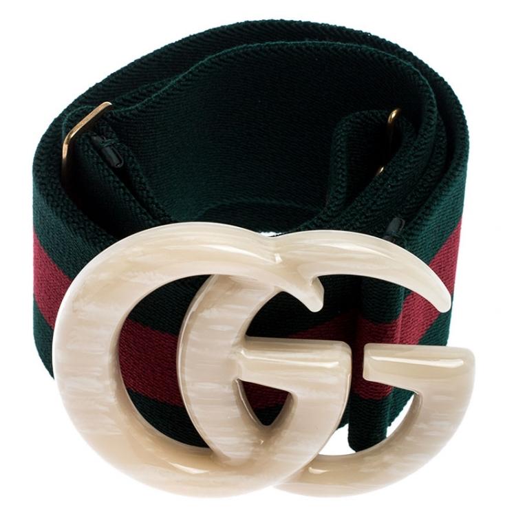 Gucci Multicolor Elastic Web Canvas Double G Buckle Belt 95CM