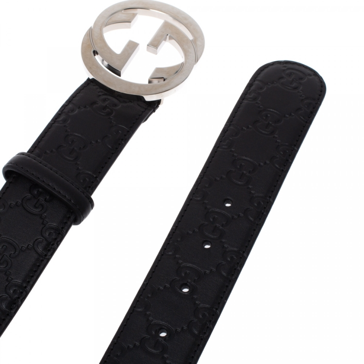 حزام غوتشي بإبزيم جي جي متداخل جلد غوتشيسيما أسود 95 سم
