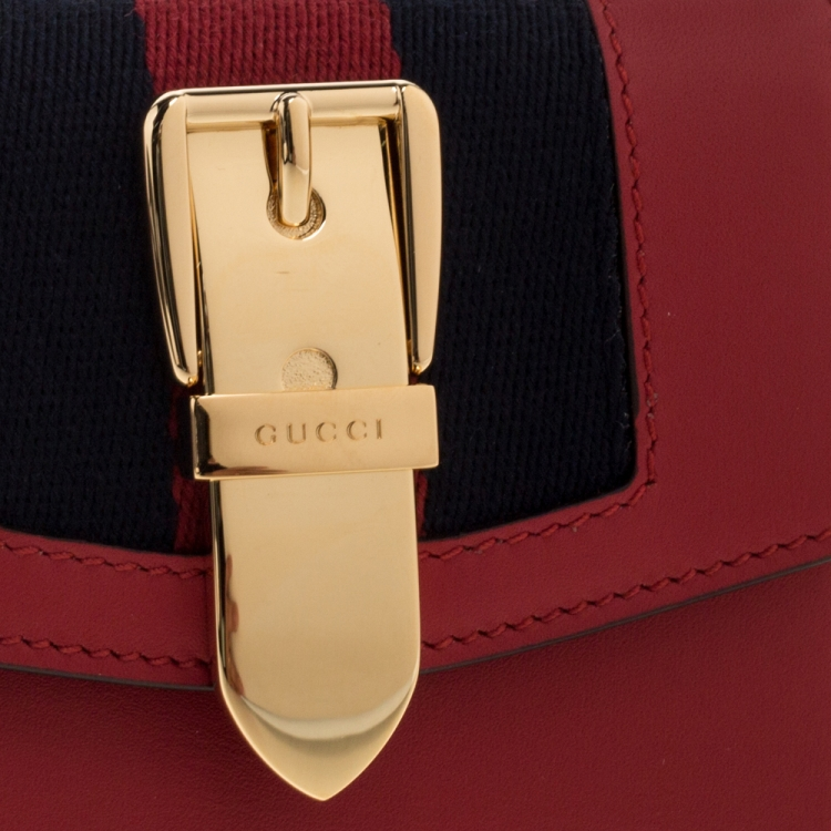 Gucci Red Leather Sylvie Trifold Wallet