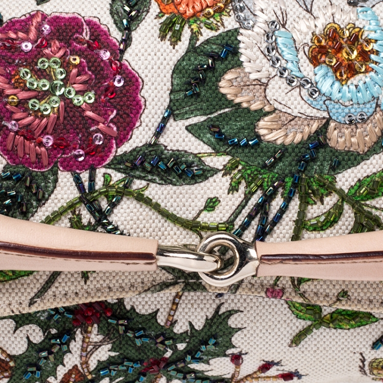 Gucci Multicolor Floral Print Canvas and Beaded Horsebit Chain Clutch