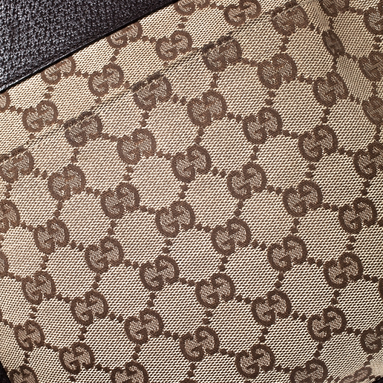 Gucci Beige/Brown GG Canvas and Leather Web Messenger Bag