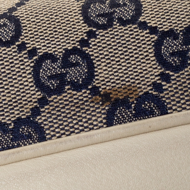 Gucci Beige/Blue GG Canvas and Leather Web Satchel