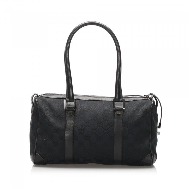 Gucci Black GG Canvas and Leather Boston Bag