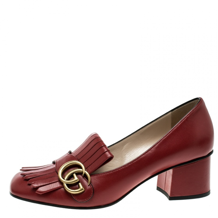 Gucci Red Leather Fringe Marmont Gg Loafer Pumps Size 37 5 Gucci Tlc