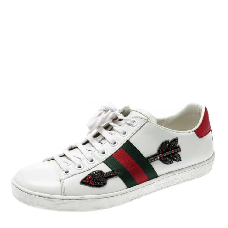 Gucci White Leather Ace Embroidered