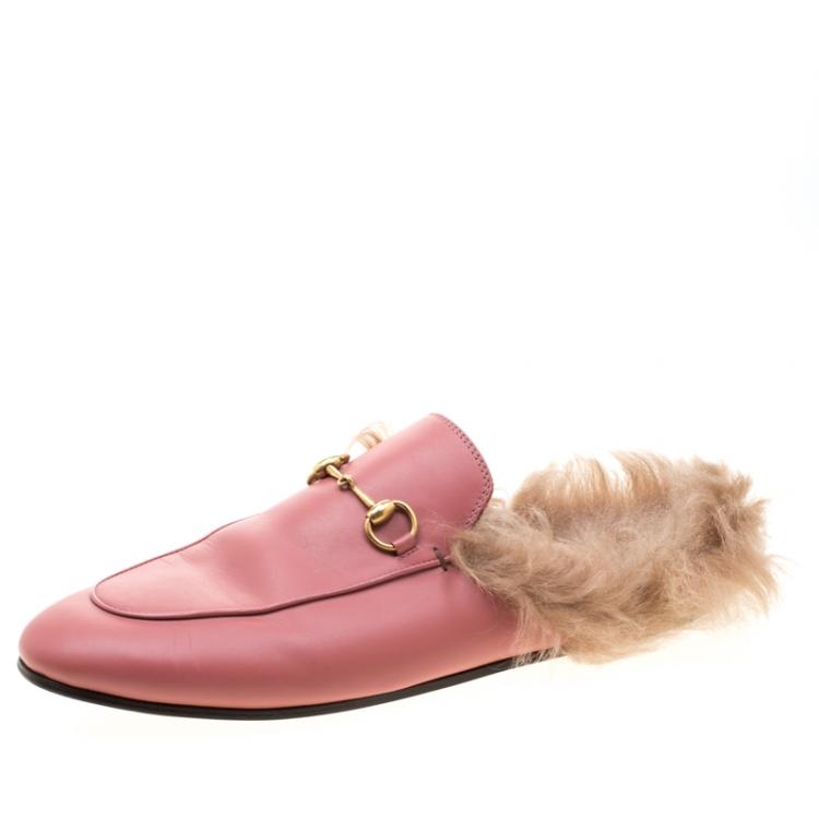 gucci pink princetown mule