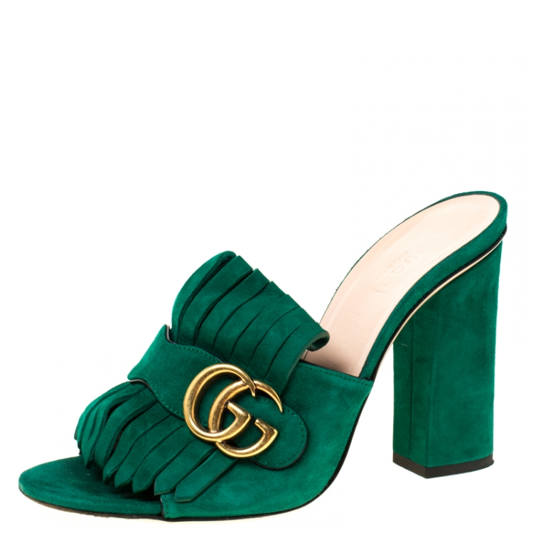Gucci Green Suede GG Marmont Fringe