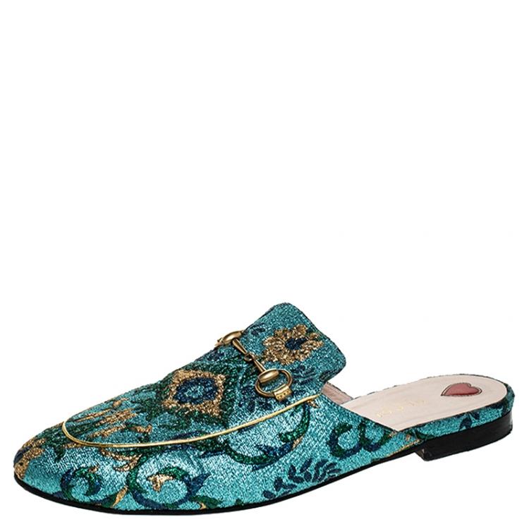 Gucci Multicolor Brocade Fabric Princetown Mules Size 40.5