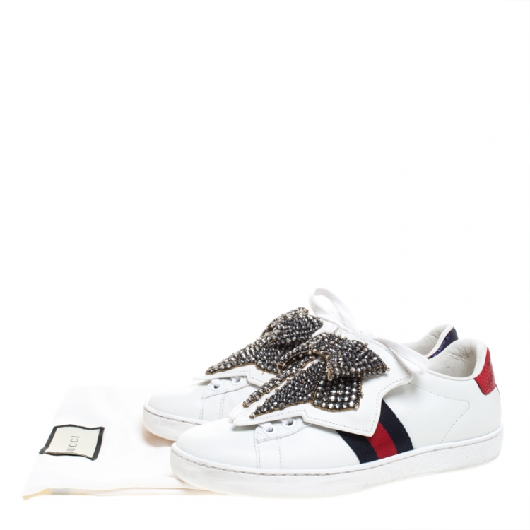 Gucci White Leather Ace Beaded Bow Lace