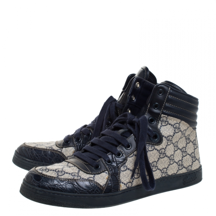 Gucci Blue Croc Leather And GG Canvas