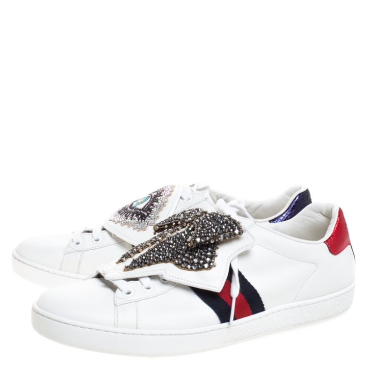 Gucci White Leather Ace Crystal Bow