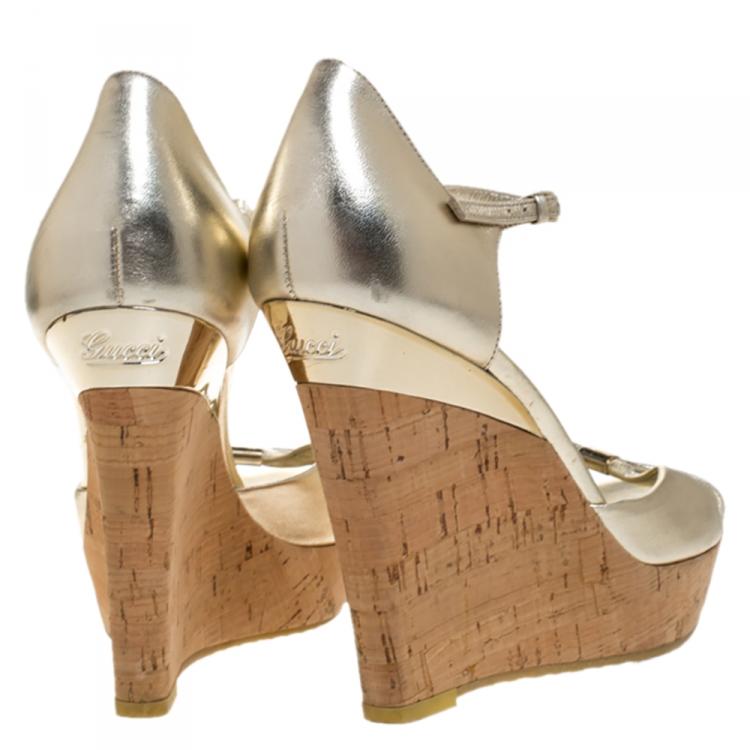 Gucci Gold Leather Cork Platform Wedge Ankle Strap Sandals Size 39.5