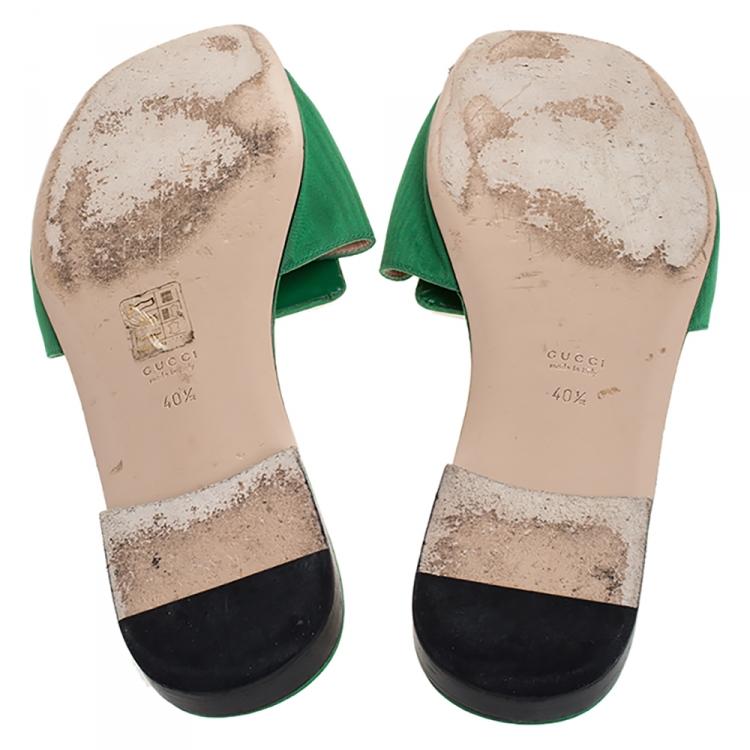 Gucci Green Satin Crystal G Slide Sandals Size 40.5