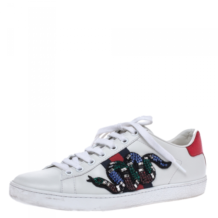 Gucci White Leather Crystal Embellished