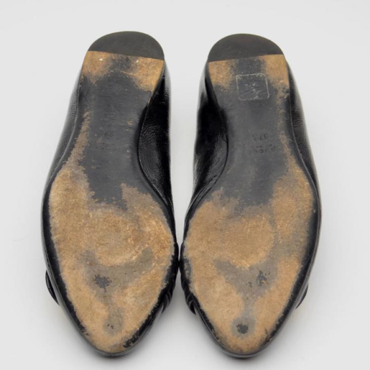 Gucci Black Patent Hysteria Ballet Flats Size 37.5
