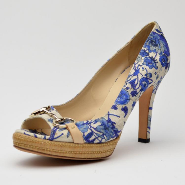 Gucci Blue Floral Peep Toe Pumps Size